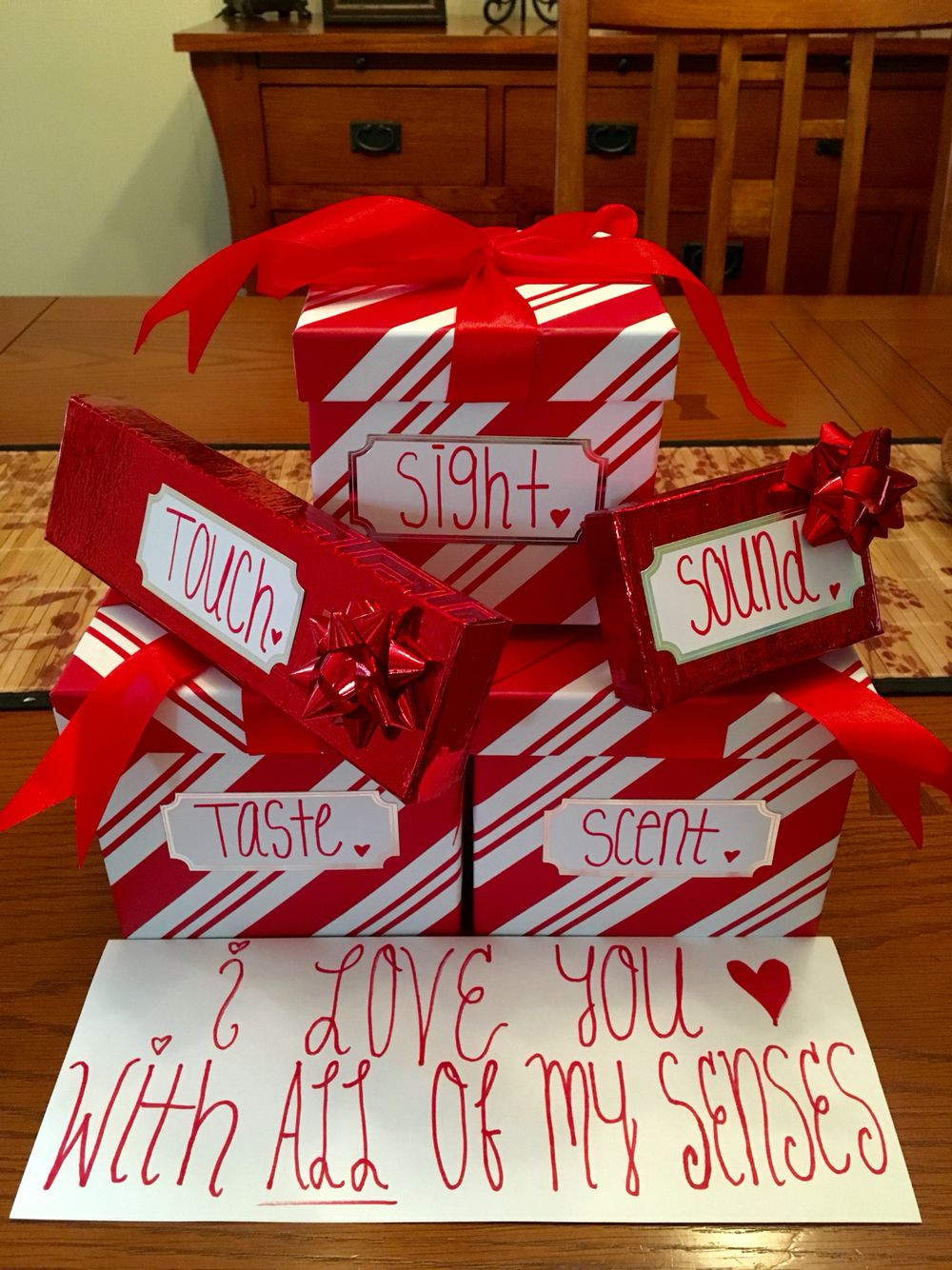 Best ideas about Valentine Gift Ideas For Husband . Save or Pin Gift idea for him Used the 5 senses to incorporate 5 Now.