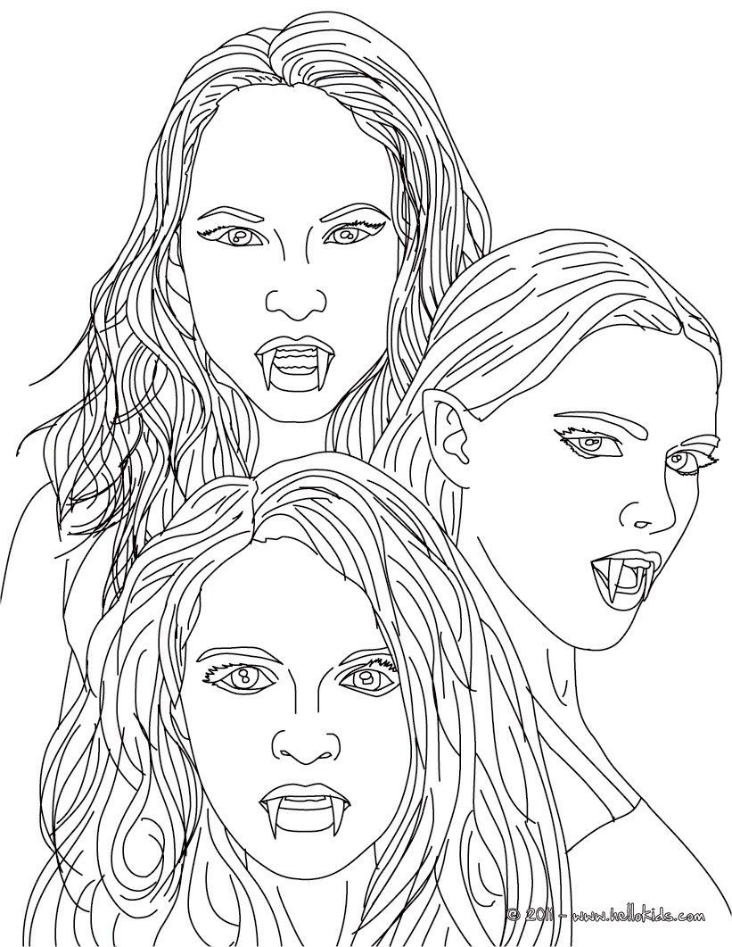 Best ideas about Vampire Coloring Pages For Adults . Save or Pin Kleurplaat THE 3 EMPUSA mythical vampires coloring page Now.
