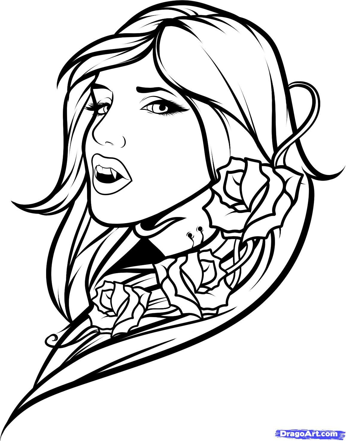 Best ideas about Vampire Coloring Pages For Adults . Save or Pin Vampire Girl vm colouring pages Now.