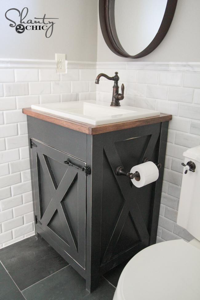 Best ideas about Vanity Plans DIY . Save or Pin DIY Farmhouse Bathroom Vanity Shanty 2 Chic Now.