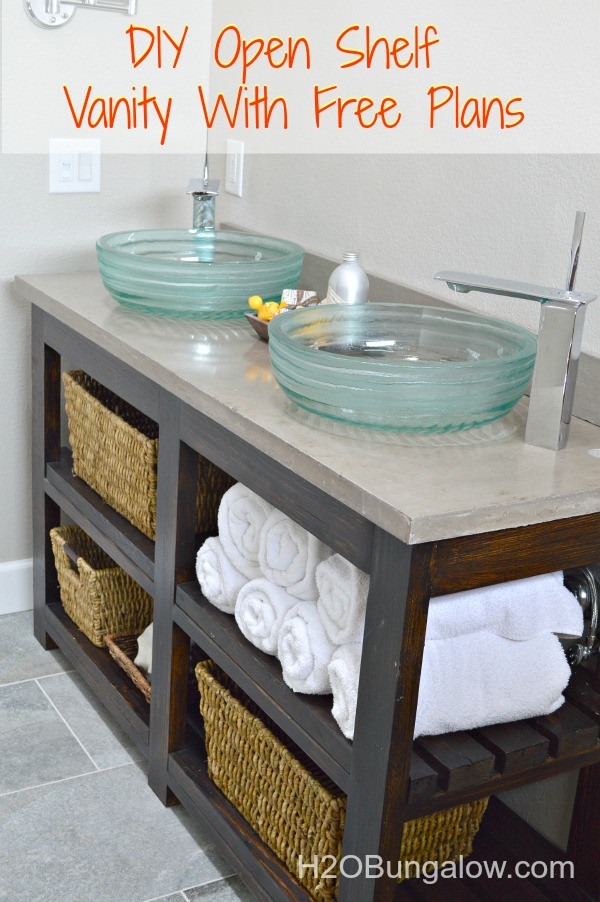 Best ideas about Vanity Plans DIY . Save or Pin DIY Open Shelf Vanity With Free Plans Now.