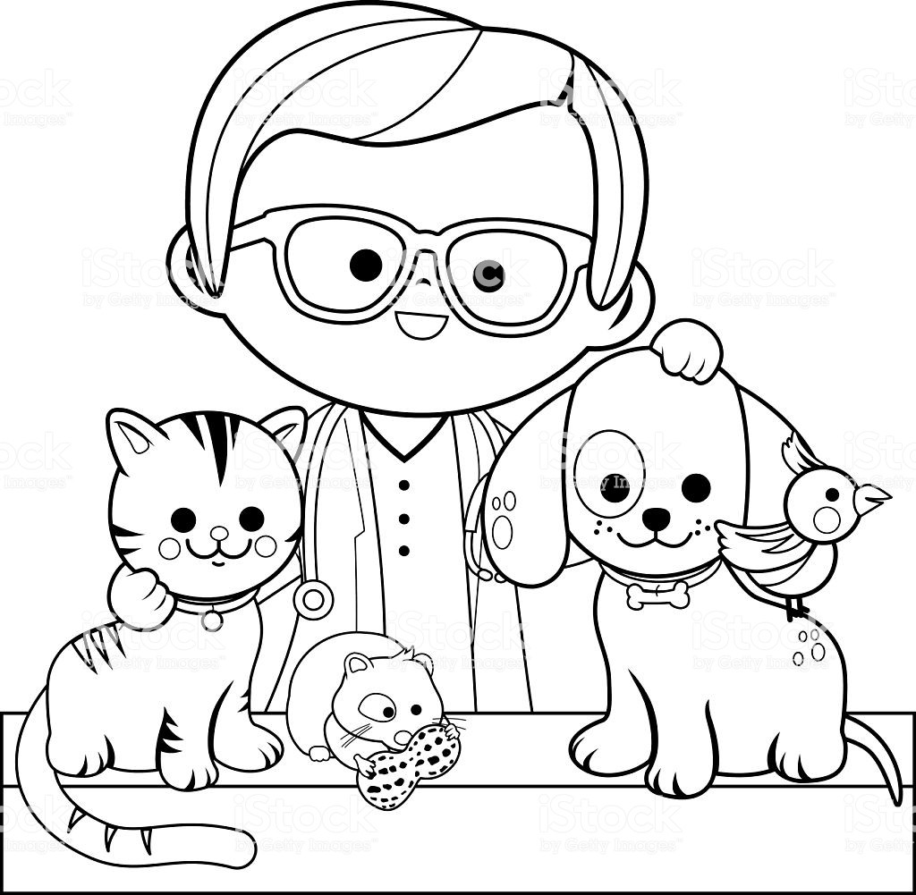 Best ideas about Veterinary Coloring Pages For Kids . Save or Pin Veterinarian And Pets Coloring Book Page Stock Vector Art Now.
