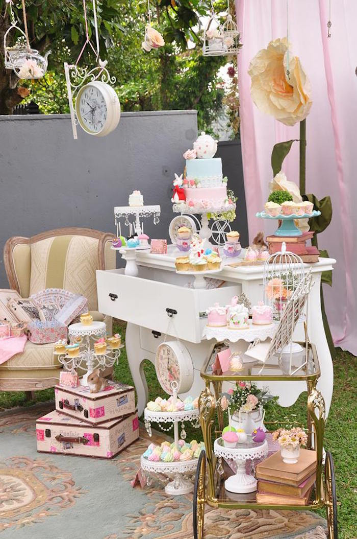 Best ideas about Vintage Birthday Party Decorations . Save or Pin Kara s Party Ideas Vintage Alice in Wonderland Birthday Now.
