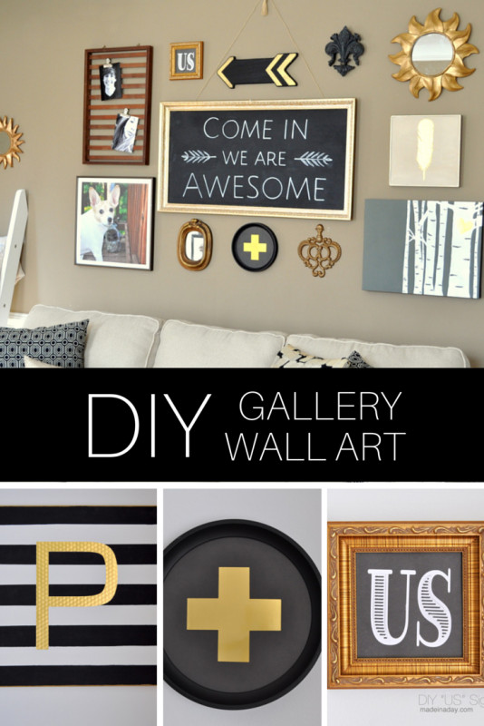 Best ideas about Wall Art Ideas For Living Room DIY . Save or Pin DIY Black Gold Gallery Wall Now.
