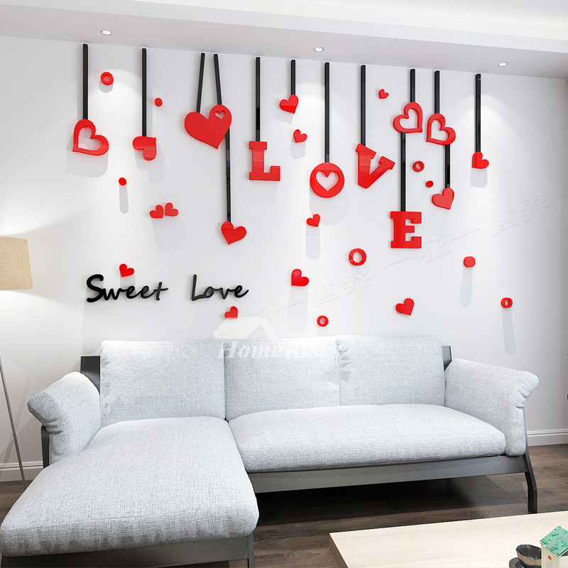 Best ideas about Wall Decals For Living Room . Save or Pin Love Wall Decals Acrylic 3d Living Room For Adults Living Now.
