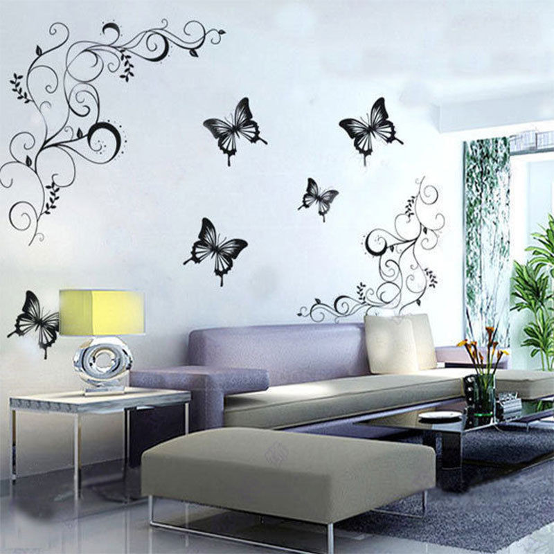 Best ideas about Wall Decals For Living Room . Save or Pin Hot butterfly Vine flower wall decals Living room Home Now.