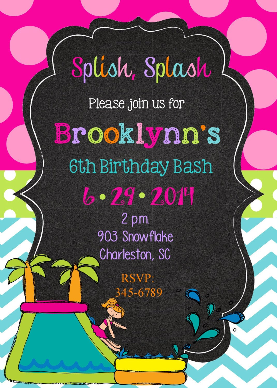 Best ideas about Water Slide Birthday Invitations . Save or Pin Water Slide Party Birthday Party invitations printable or Now.