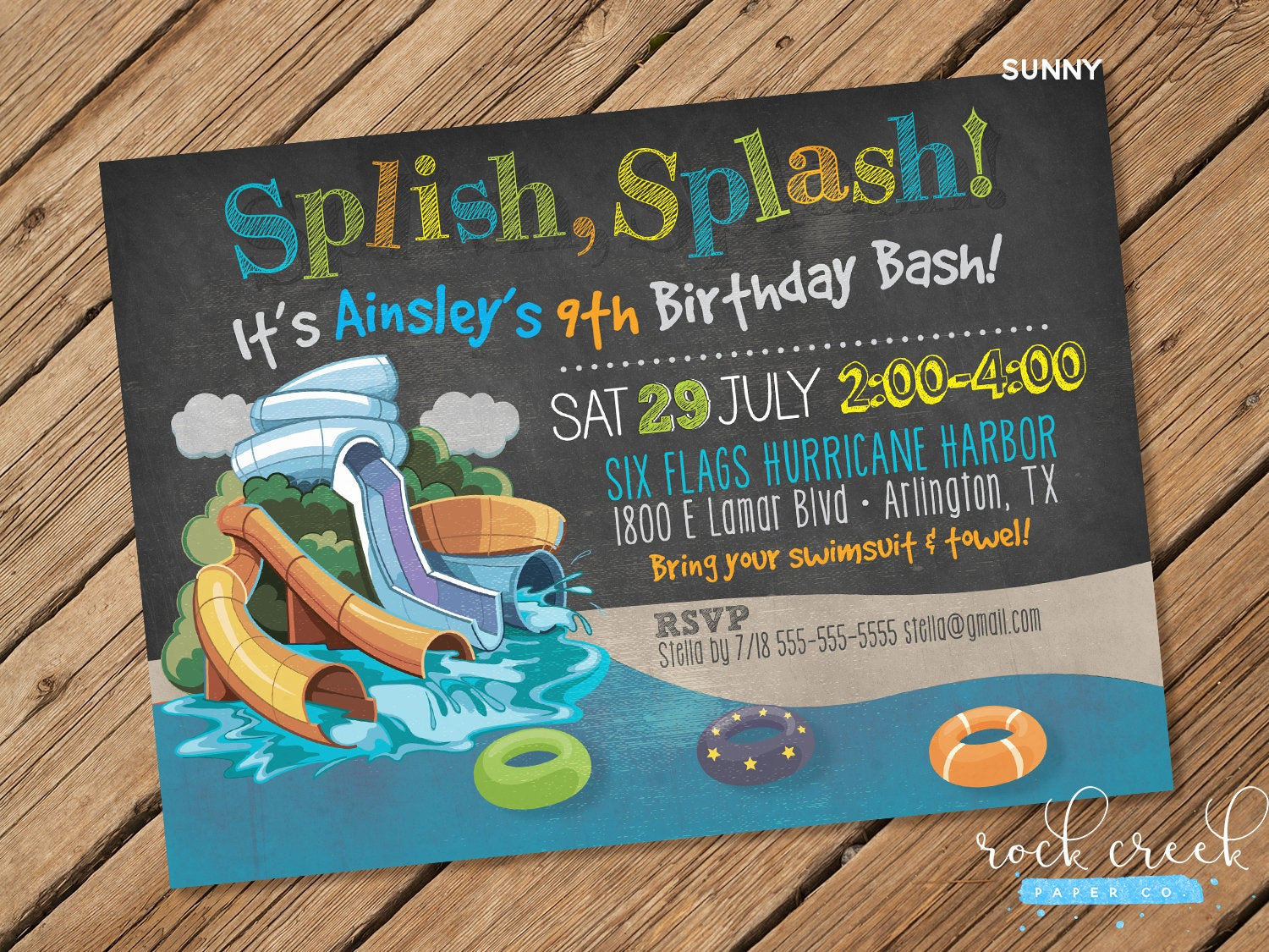 Best ideas about Water Slide Birthday Invitations . Save or Pin Waterpark Party Invitation Water Slide Party Wave Pool Now.