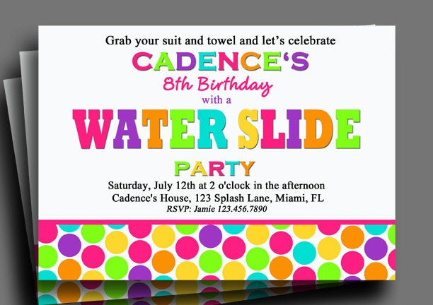 Best ideas about Water Slide Birthday Invitations . Save or Pin Water Slide Invitation Printable or Printed with FREE SHIPPING Now.