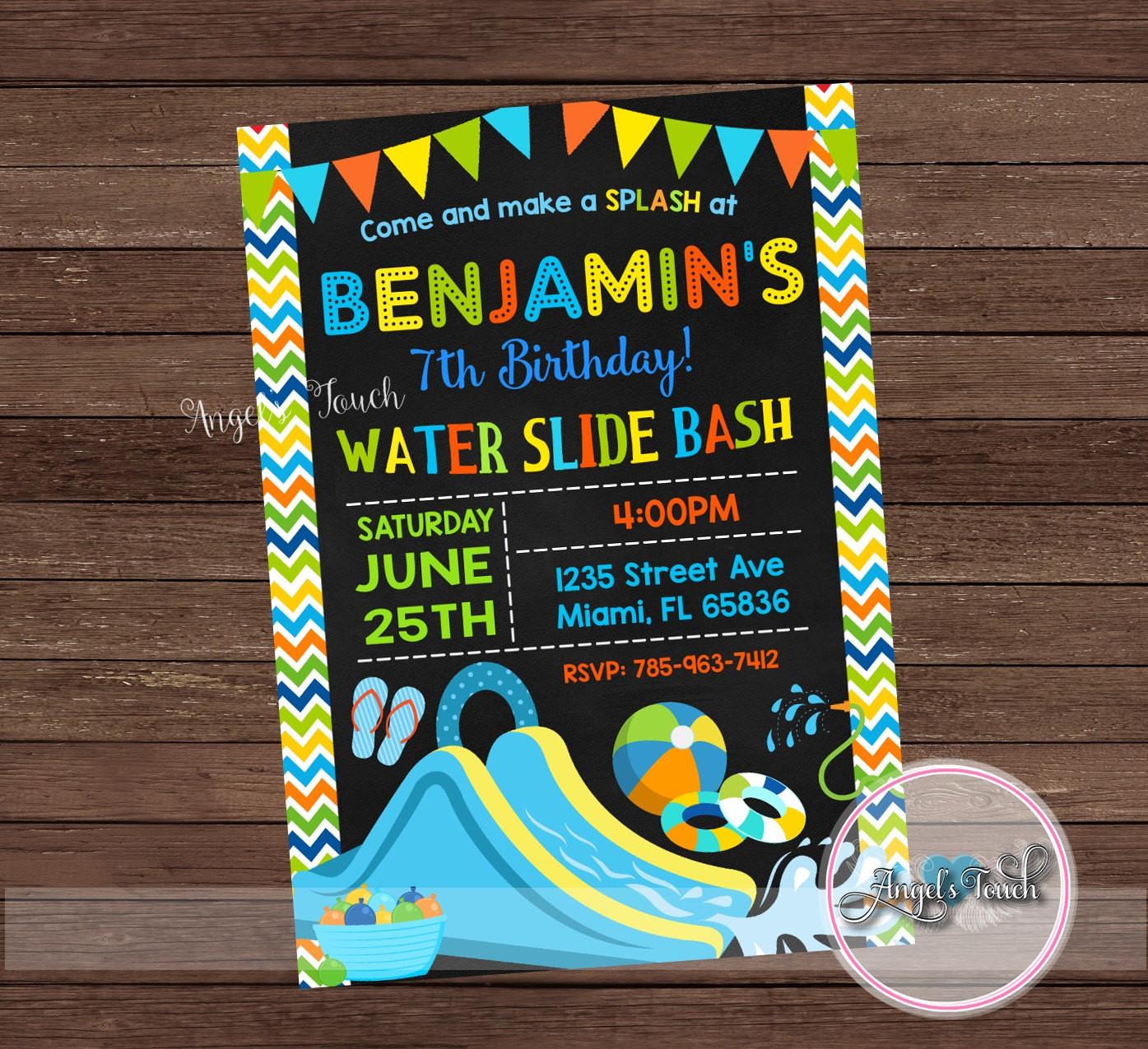 Best ideas about Water Slide Birthday Invitations . Save or Pin Water Slide Party Invitation Waterslide Birthday Invitation Now.