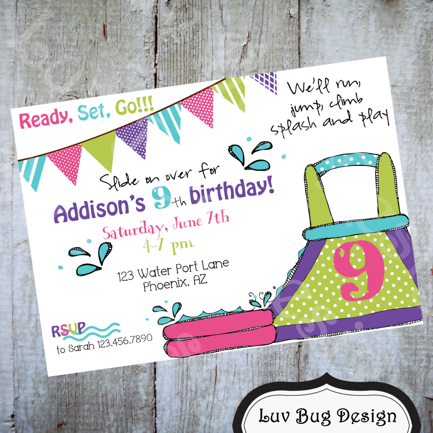Best ideas about Water Slide Birthday Invitations . Save or Pin WATER SLIDE Birthday Invitation Printable party by Now.