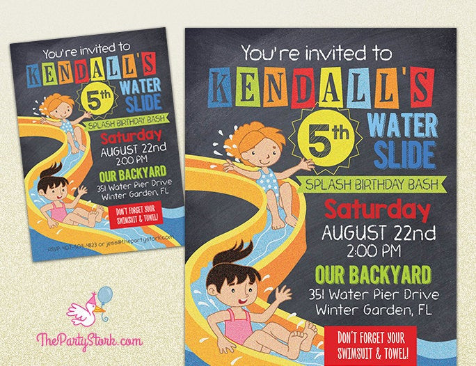 Best ideas about Water Slide Birthday Invitations . Save or Pin Water Slide Party Invitation Printable Birthday Invite for Now.