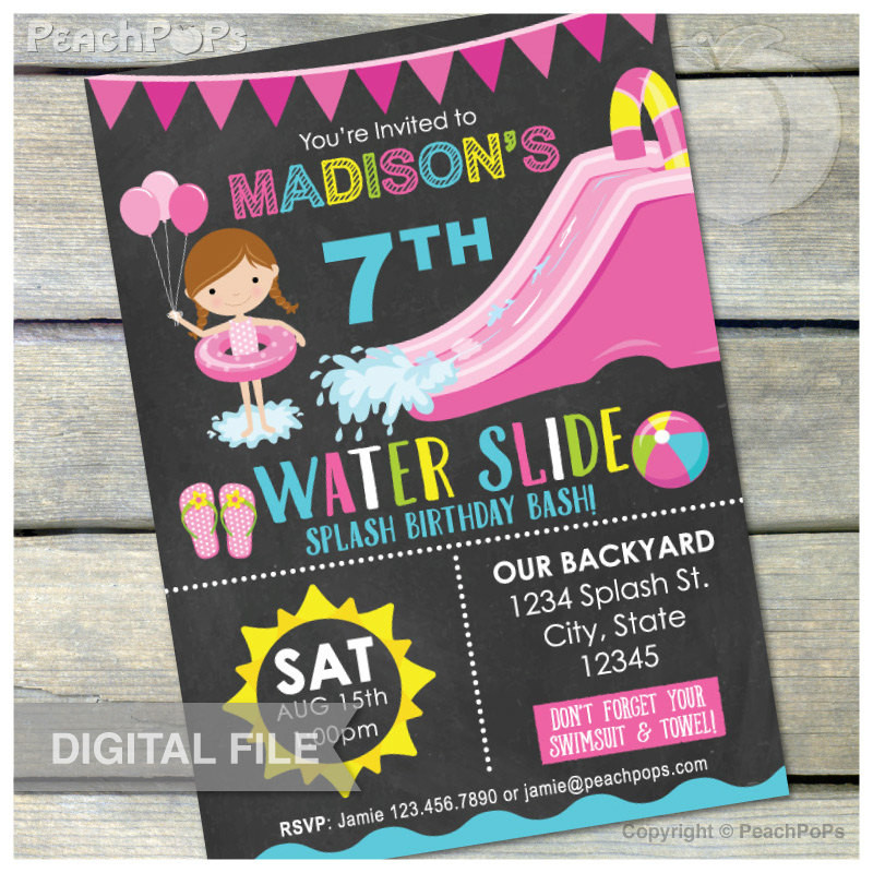 Best ideas about Water Slide Birthday Invitations . Save or Pin Waterslide Birthday Party Bash Invitation Chalkboard by Now.