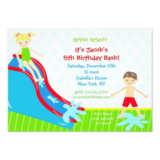 Best ideas about Water Slide Birthday Invitations . Save or Pin Water slide Waterslide Birthday Invitations Now.