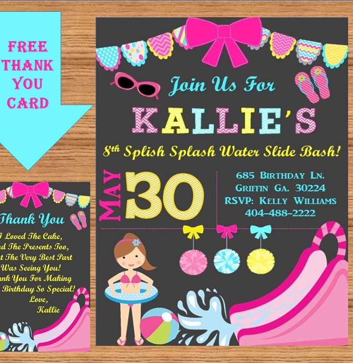 Best ideas about Water Slide Birthday Invitations . Save or Pin Water Slide Birthday Party Invitation Swimming by Now.