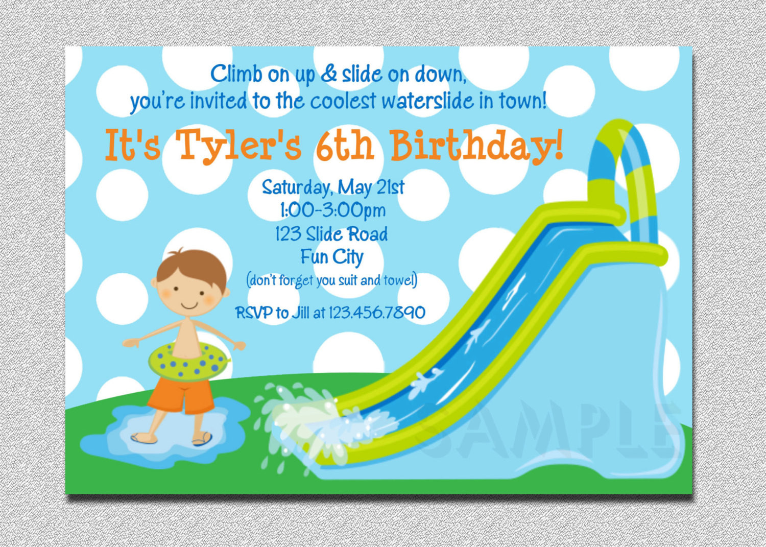 Best ideas about Water Slide Birthday Invitations . Save or Pin Waterslide Birthday Invitations Water Slide Birthday Party Now.