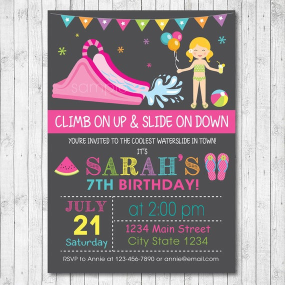 Best ideas about Water Slide Birthday Invitations . Save or Pin Items similar to Water Slide Birthday Party Invitation Now.