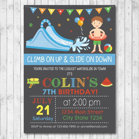Best ideas about Water Slide Birthday Invitations . Save or Pin Water Slide Birthday Party Invitation Card Boy by Now.