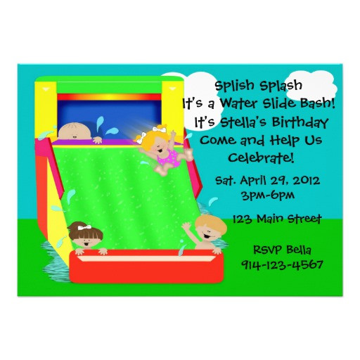 "Best ideas about Water Slide Birthday Invitations . Save or Pin Water Slide Party Invitation 5"" X 7"" Invitation Card Now."