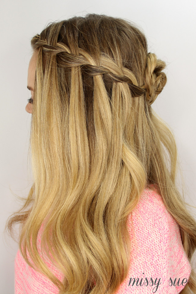 Best ideas about Waterfall Braid Hairstyles . Save or Pin Waterfall Braid and Flower Bun Now.