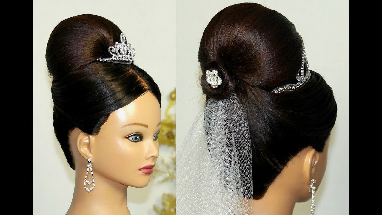 Best ideas about Wedding Bun Hairstyles . Save or Pin Bridal Updo Bun hairstyle for medium long hair Now.