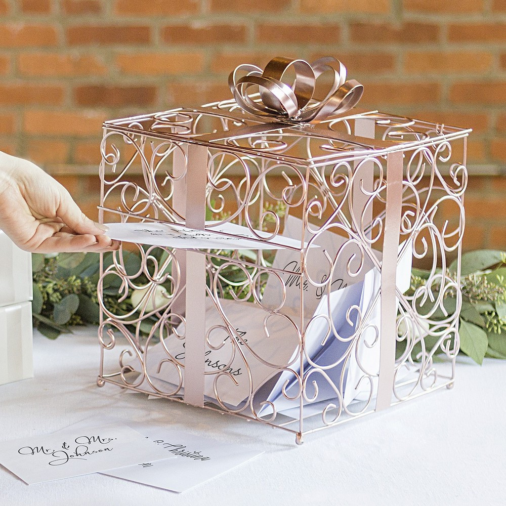 Best ideas about Wedding Gift Card Ideas . Save or Pin Rose Gold Scrolled Wire Wedding Gift Card Box Now.