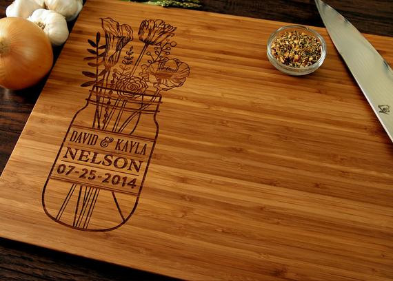Best ideas about Wedding Gift Engraving Ideas . Save or Pin Personalized Wedding Gift Custom Cutting Board Anniversary Now.