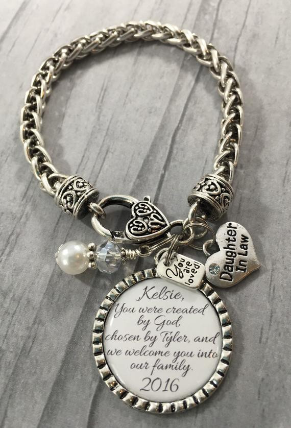 Best ideas about Wedding Gift Ideas For Daughter . Save or Pin DAUGHTER in Law BRACELET Future Daughter in Law Gift for Now.