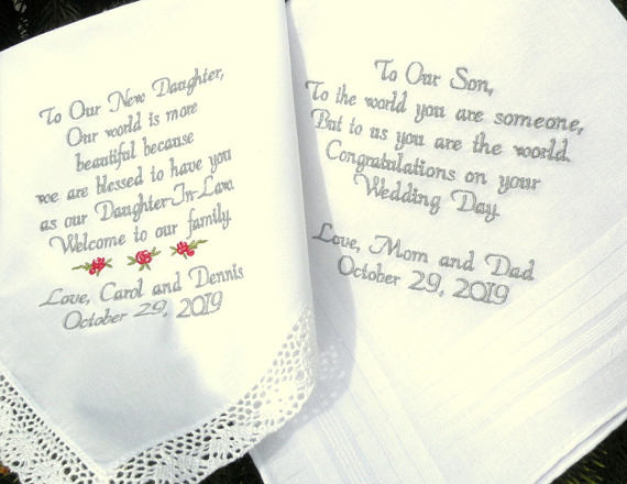 Best ideas about Wedding Gift Ideas For Son . Save or Pin Embroidered Wedding Handkerchiefs Wedding Gift Daughter and Now.