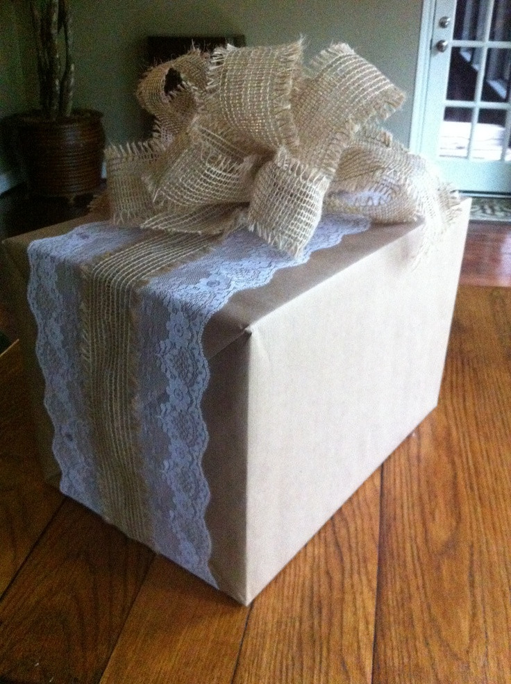 Best ideas about Wedding Gift Wrapping Ideas . Save or Pin Shabby chic country wedding t wrap Now.