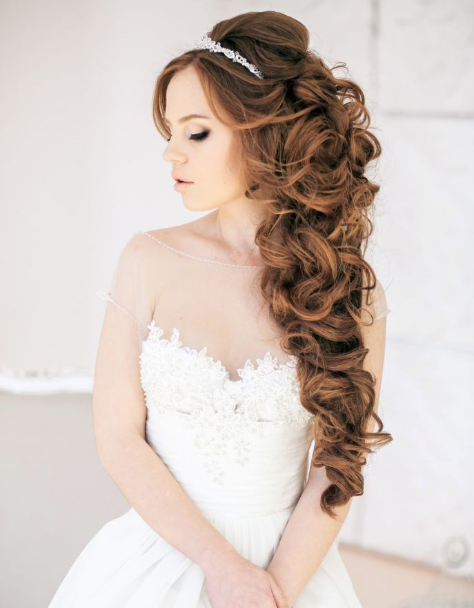Best ideas about Wedding Hairstyles Down Curly . Save or Pin long curly half up half down wedding hairstyle Now.
