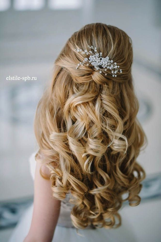 Best ideas about Wedding Hairstyles Down Curly . Save or Pin 20 Awesome Half Up Half Down Wedding Hairstyle Ideas Now.
