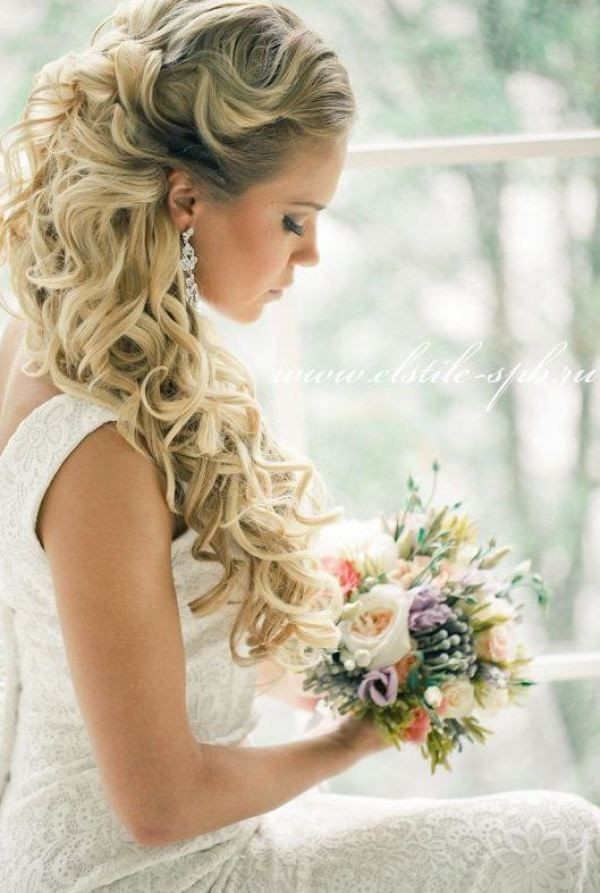 Best ideas about Wedding Hairstyles Down Curly . Save or Pin 23 Stunning Half Up Half Down Wedding Hairstyles Pretty Now.