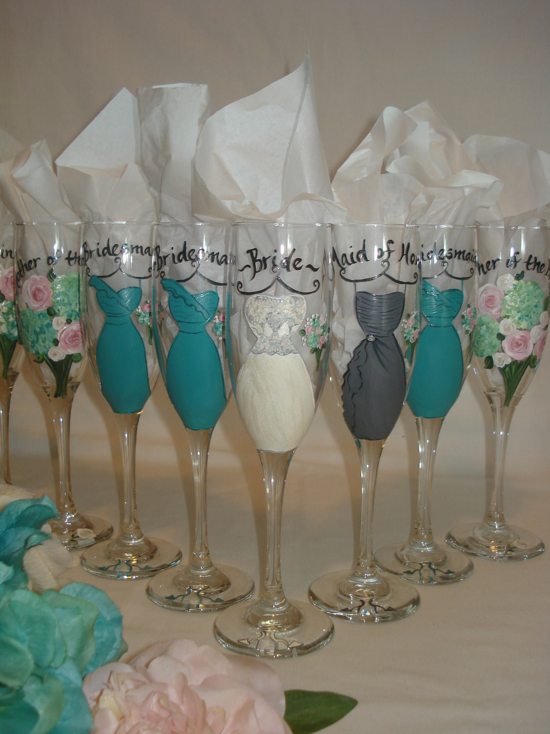 Best ideas about Wedding Party Gift Ideas . Save or Pin Hand Painted Personalized Bridal Party Champagne Glasses Now.