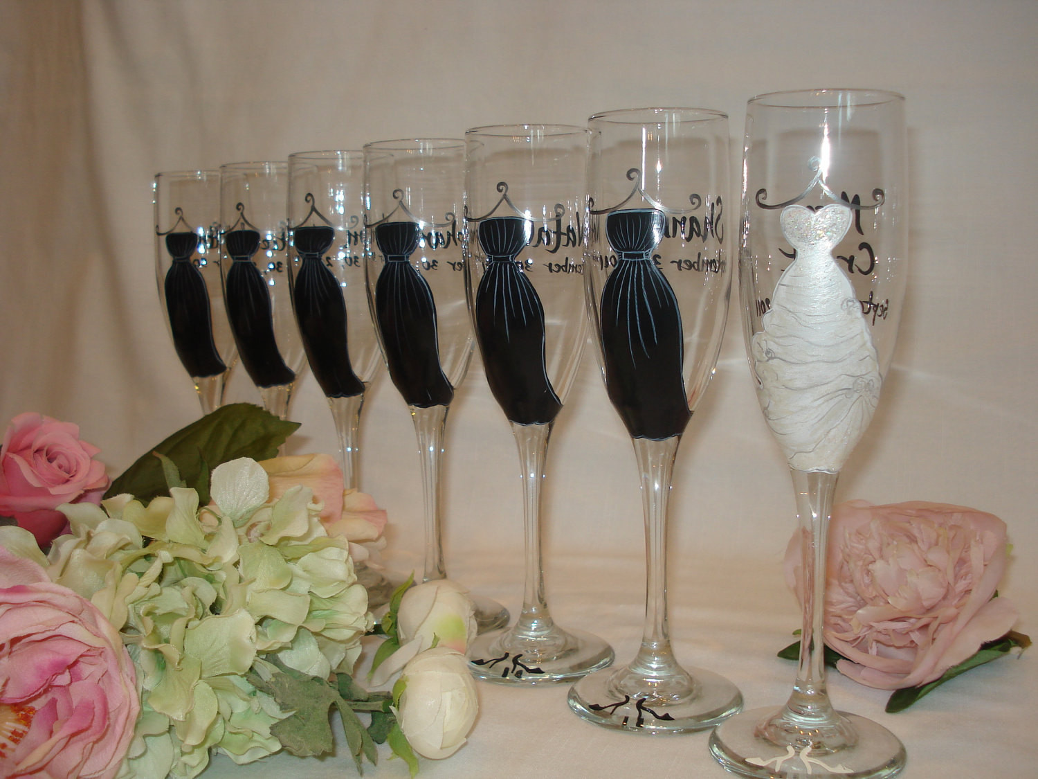 Best ideas about Wedding Party Gift Ideas . Save or Pin Personalized Hand Painted Bridesmaid Dress Wine Glasses GIFT Now.