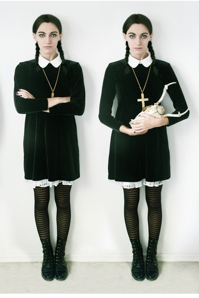 Best ideas about Wednesday Addams DIY Costume . Save or Pin White Blouse Blouses Black Black Boots Boots Boots Black Now.