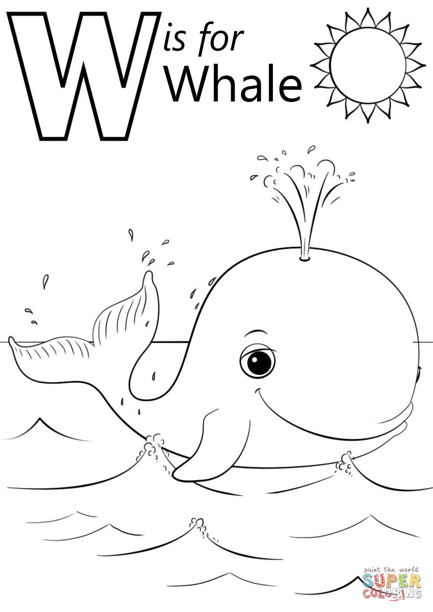 Best ideas about Whale Coloring Book Pages . Save or Pin W is for Whale coloring page Now.