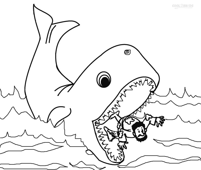 Best ideas about Whale Coloring Book Pages . Save or Pin Printable Jonah and the Whale Coloring Pages For Kids Now.