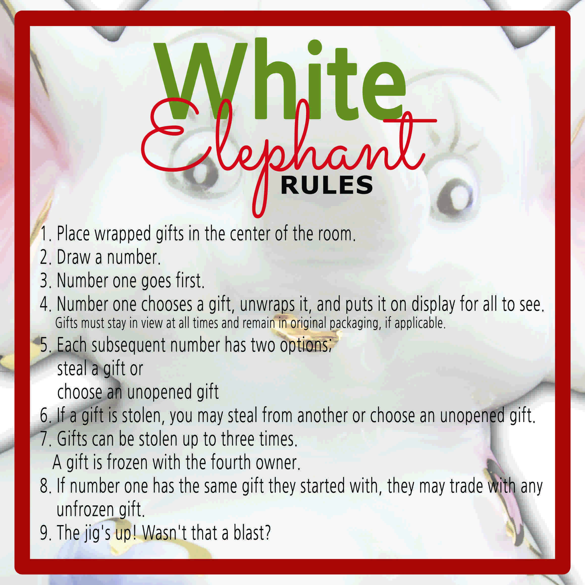Best ideas about What Is A White Elephant Gift Exchange Ideas . Save or Pin White Elephant Gift Exchange Rules and Printables Now.