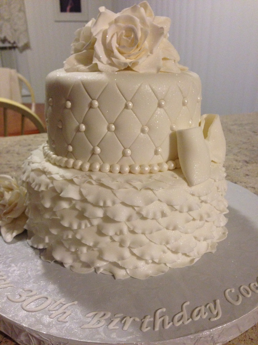 Best ideas about White Birthday Cake . Save or Pin All White 30Th Birthday Cake CakeCentral Now.