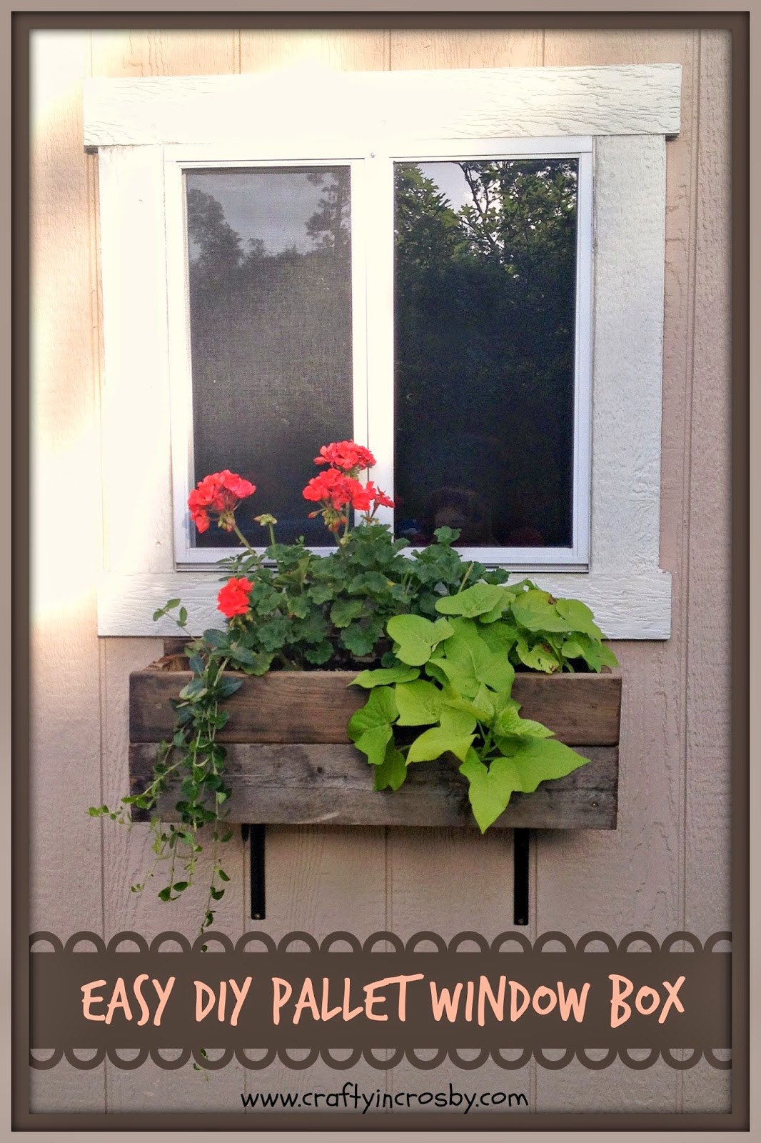 Best ideas about Window Flower Boxes DIY . Save or Pin Crafty in Crosby Easy DIY Pallet Window Box Now.