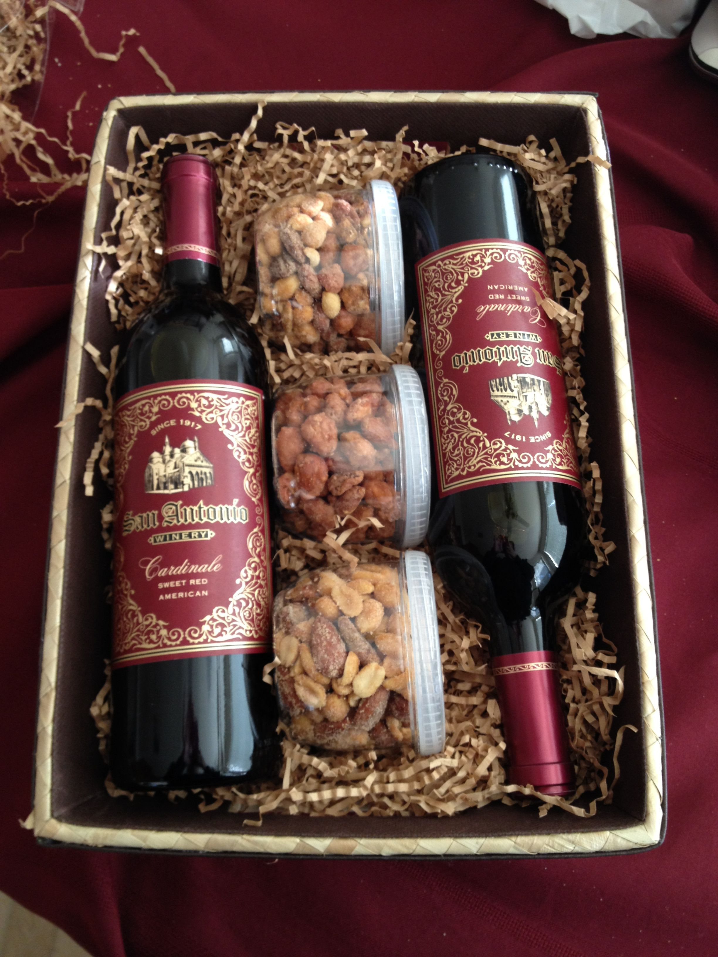 Best ideas about Wine Basket Gift Ideas . Save or Pin Wine Gift Basket Nuts are a good idea to add to the wine Now.