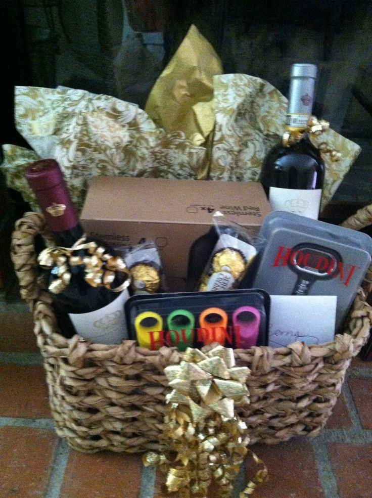 Best ideas about Wine Basket Gift Ideas . Save or Pin Wine basket I made for a Bridal Sower Now.
