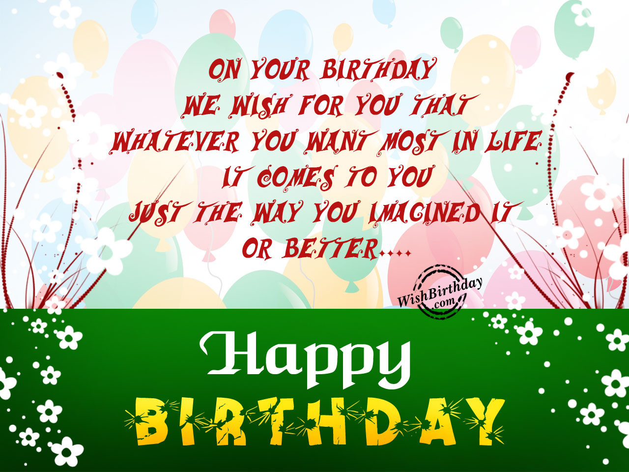 Best ideas about Wish You Happy Birthday . Save or Pin Birthday Wishes With Balloons Birthday Now.