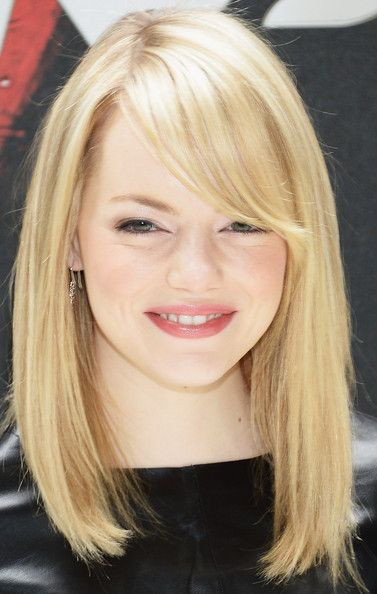 Best ideas about Women'S Shoulder Length Hairstyles . Save or Pin Emma Stone Medium Straight Cut with Bangs Now.