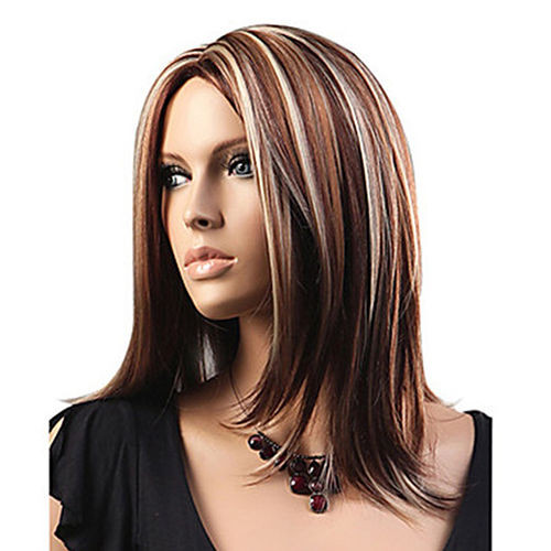 Best ideas about Women'S Shoulder Length Hairstyles . Save or Pin Women s Medium Mix Blonde Brown Straight Cosplay Hair Full Now.