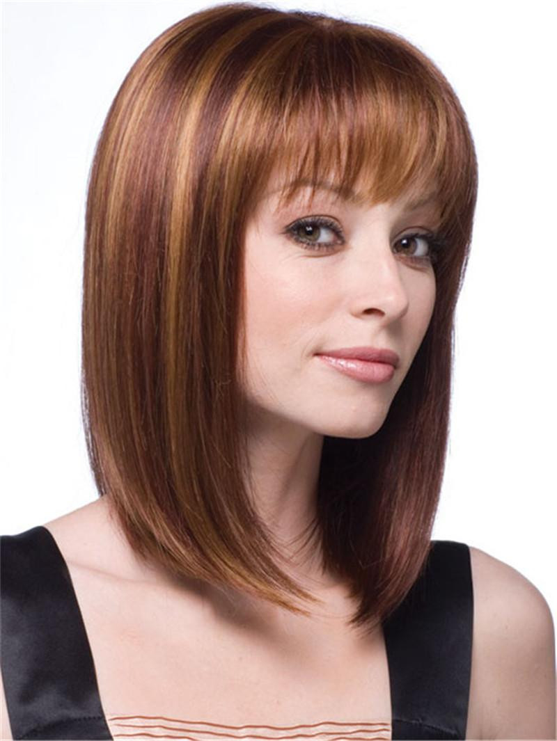Best ideas about Women'S Undercut Hairstyles . Save or Pin Natural Short Blonde Wig Medium Length Straight Hair Wigs Now.