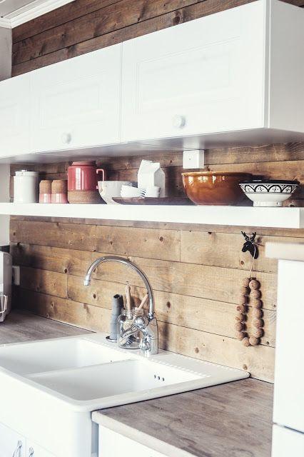 Best ideas about Wood Backsplash DIY . Save or Pin white kitchen with wooden backsplash sans for sånt Now.
