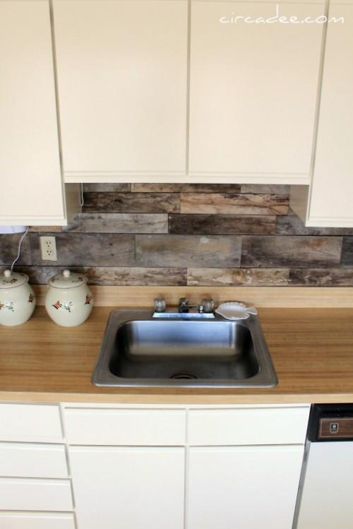 Best ideas about Wood Backsplash DIY . Save or Pin Cheap DIY Rustic Kitchen Backsplash Shelterness Now.