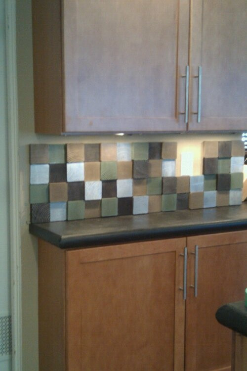 Best ideas about Wood Backsplash DIY . Save or Pin DIY kitchen backsplash made from painted scrap lumber 4x4s Now.